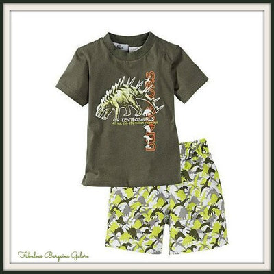 2pc Dinosaur Print Green Baby Boy Outfits - Fabulous Bargains Galore