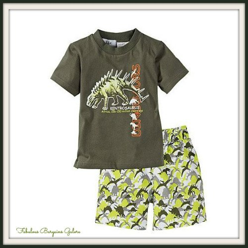 2pc Dinosaur Print Green Baby Boy Outfits