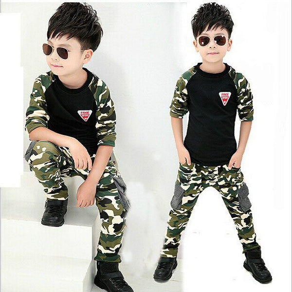 Boys Casual 2Pcs Camo Outfit Set