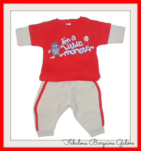 Little Monster Print Baby Boys Outfit