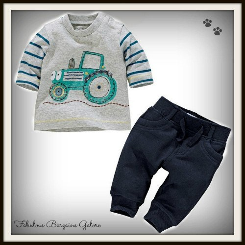 Set of Tractor Print Baby Boys Outfits-Fabulous Bargains Galore