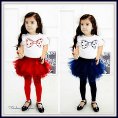 Cute 2 Piece Girls Outfit With Tutu Leggings
