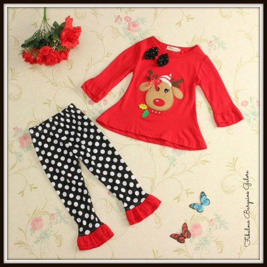 Cute Reindeer 2 Piece Girls Christmas Outfit