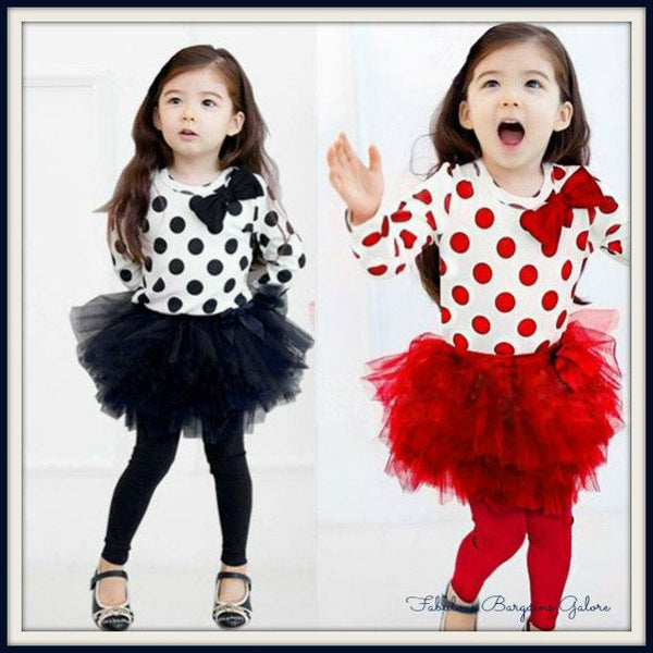Girls Cute Long Sleeve Polka Dot Bow-knot Skirt Kerchief Sets Party Dress Outfits