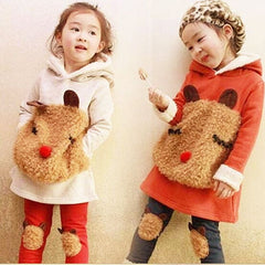 Bear Head Autumn Fleece Girls Outfit