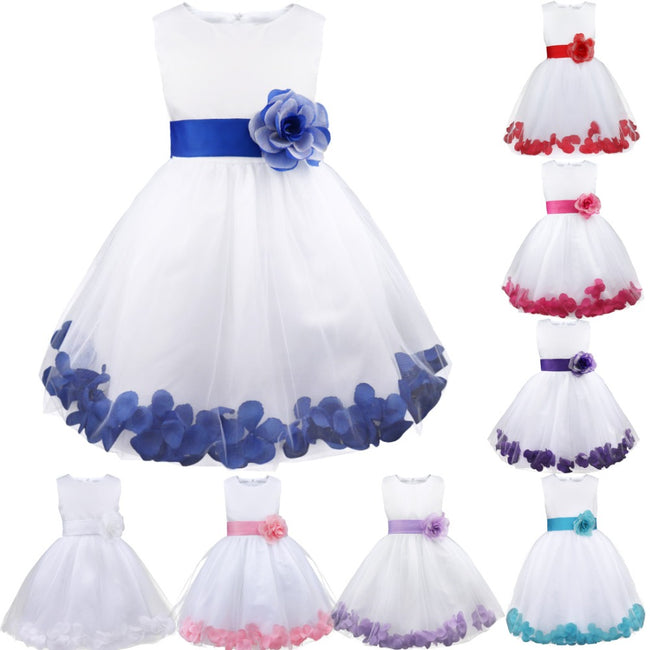 White flower girl dress with blue sash-Fabulous Bargains Galore