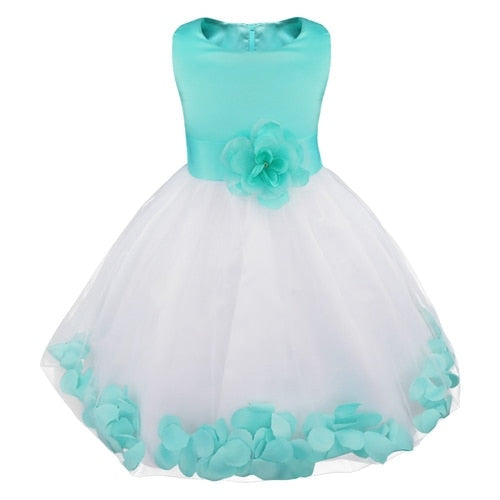 Turquoise and white flower girl dress up to age 14 years-Fabulous Bargains Galore