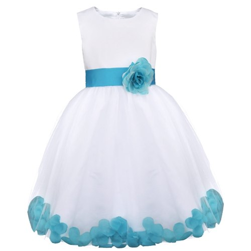 White and teal flower girl dress up to age 14 years-Fabulous Bargains Galore
