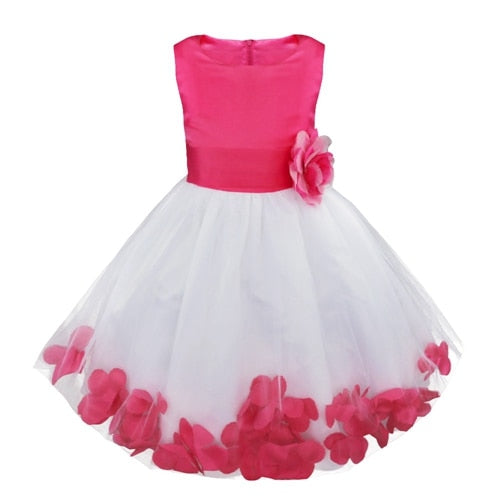 White and fuchsia flower girl dress up to age 14 years-Fabulous Bargains Galore