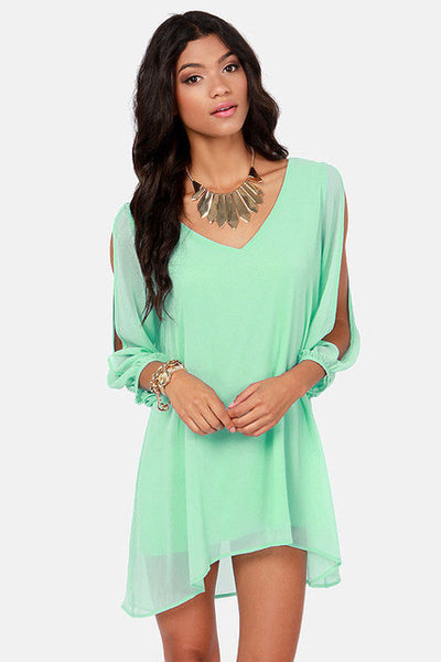 Light Green V Neck Loose Chiffon Dress Available in Plus Sizes