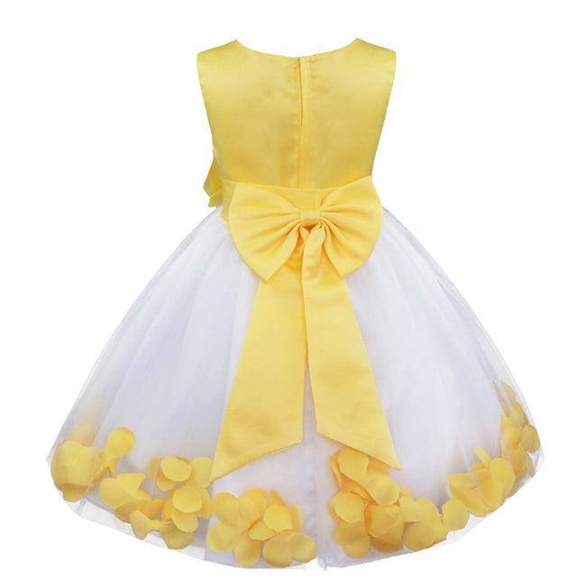 Yellow and white flower girl dress up to age 14 years-Fabulous Bargains Galore
