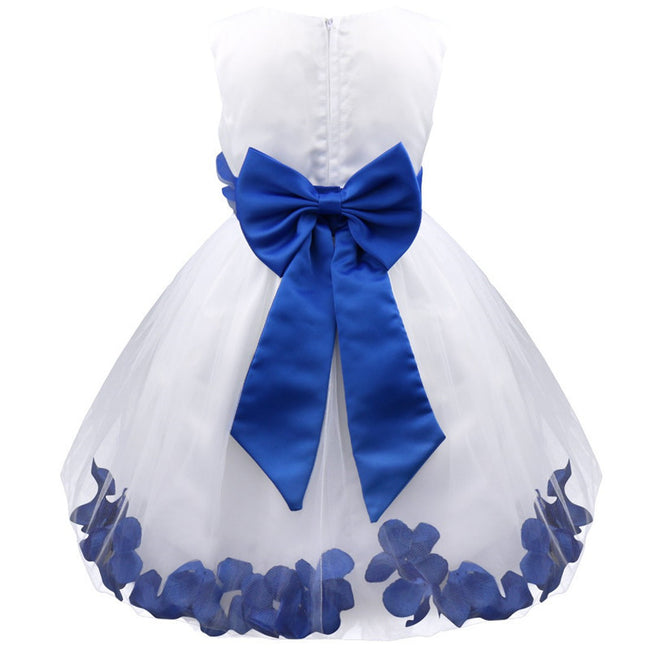 Navy blue and white flower girl dress up to age 14 years-Fabulous Bargains Galore