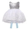 Sleeveless white girls sequin party dress