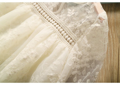 Embroidered girls cream lace dress-Fabulous Bargains Galore