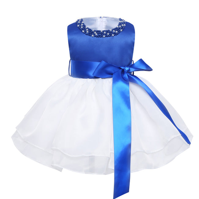 Blue and white flower girl dress up to age 24 months-Fabulous Bargains Galore