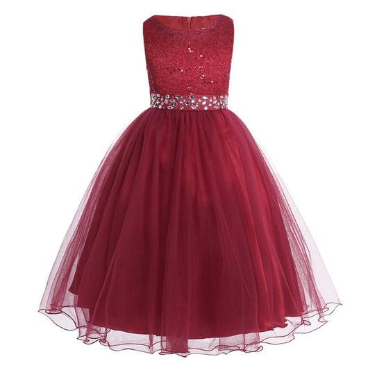 Sleeveless sequin burgundy wedding dresses for girls-Fabulous Bargains Galore