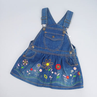 Flower embroidered baby dungaree dress-Fabulous Bargains Galore