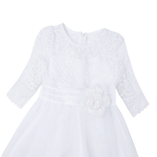 Half sleeve white lace flower girl dresses-Fabulous Bargains Galore
