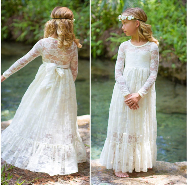 Girls ivory lace dress up to age 12 years-Fabulous Bargains Galore
