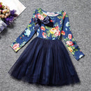 Long sleeve blue girls floral print dress-Fabulous Bargains Galore