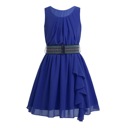 Sleeveless pleated chiffon blue gown for girls-Fabulous Bargains Galore