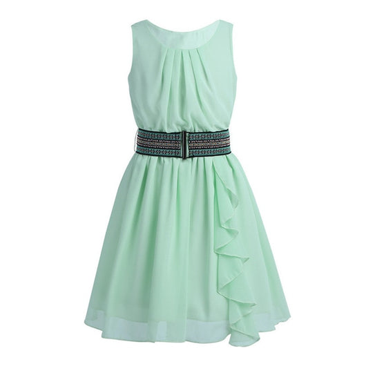 Sleeveless pleated chiffon mint green gown for girls-Fabulous Bargains Galore