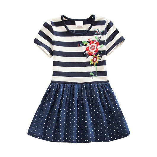 Blue stripe casual frocks for girls-Fabulous Bargains Galore
