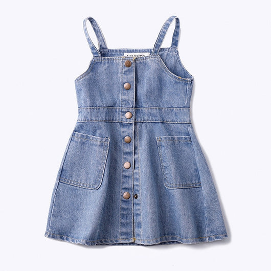 Spaghetti straps girls denim dungaree dress-Fabulous Bargains Galore