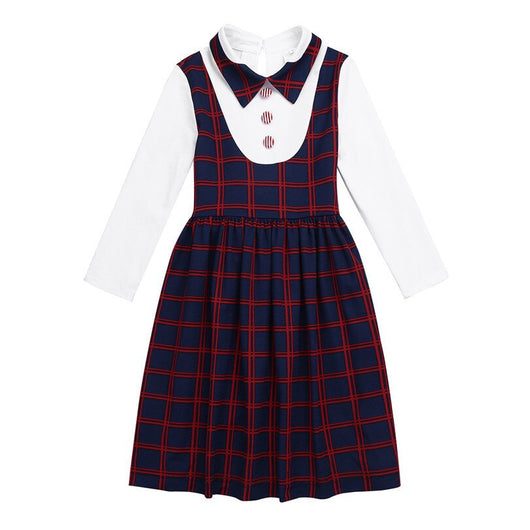 Long sleeve girls plaid dress-Fabulous Bargains Galore