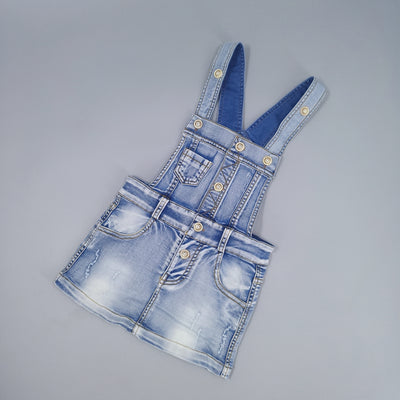 Distressed girls blue dungarees-Fabulous Bargains Galore