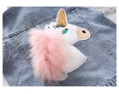 Blue denim girls unicorn jacket-Fabulous Bargains Galore