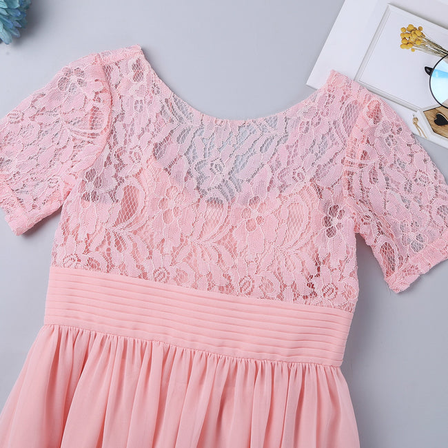Blush pink lace flower girl dress up to age 8 years-Fabulous Bargains Galore