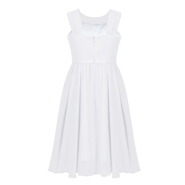 Short white flower girl dress up to age 14 years-Fabulous Bargains Galore