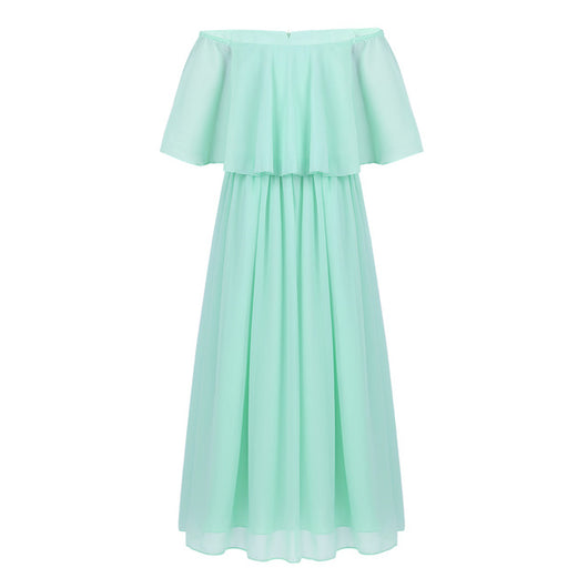 Girls off-Shoulder mint green chiffon dresses with sleeves-Fabulous Bargains Galore