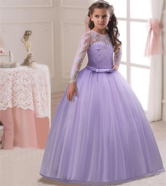 Flower girl dresses long sleeve lace up to age 16 years-Fabulous Bargains Galore