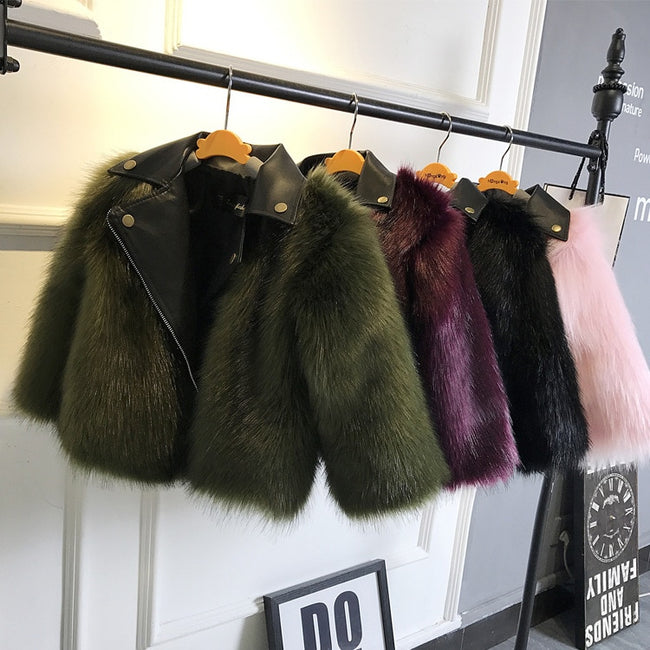 Baby girl fur jacket in green up to age 10 years-Fabulous Bargains Galore