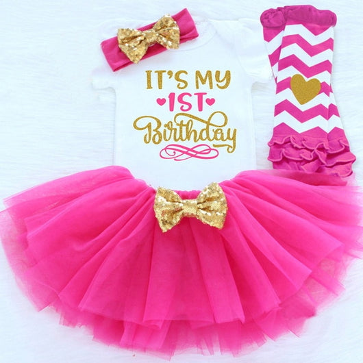 b284d82b930a4 Hot pink first birthday outfit girl