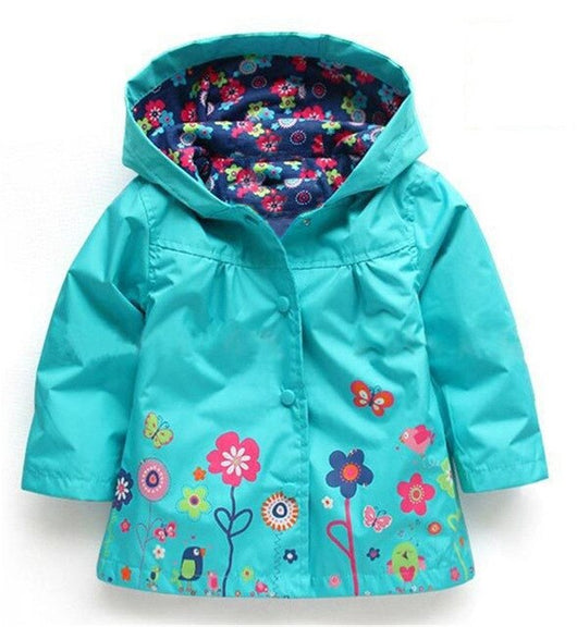 Flower print turquoise girls light jacket-Fabulous Bargains Galore
