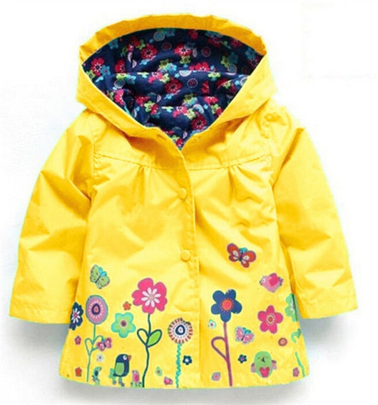 Flower print yellow girls light jacket-Fabulous Bargains Galore