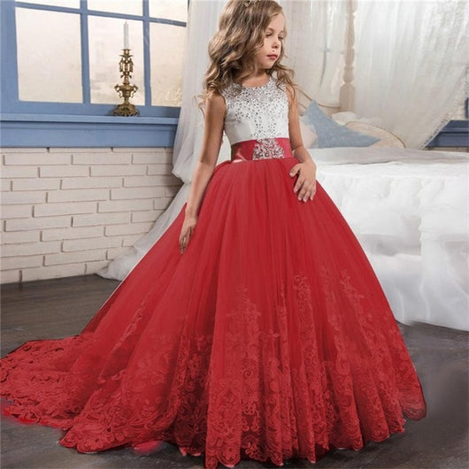 Long red princess party dress-Fabulous Bargains Galore