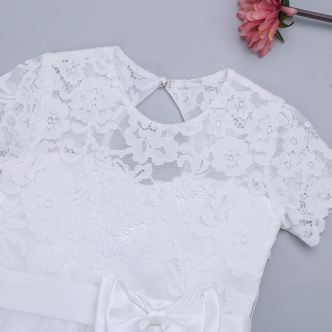 White flower girl dresses with sleeves up to age 10 years-Fabulous Bargains Galore