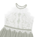 Lace top ash grey little girls maxi dress-Fabulous Bargains Galore