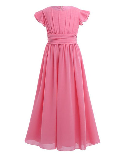 Short sleeve girls rose pleated chiffon dress-Fabulous Bargains Galore