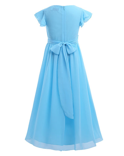 Short sleeve girls blue pleated chiffon dress-Fabulous Bargains Galore