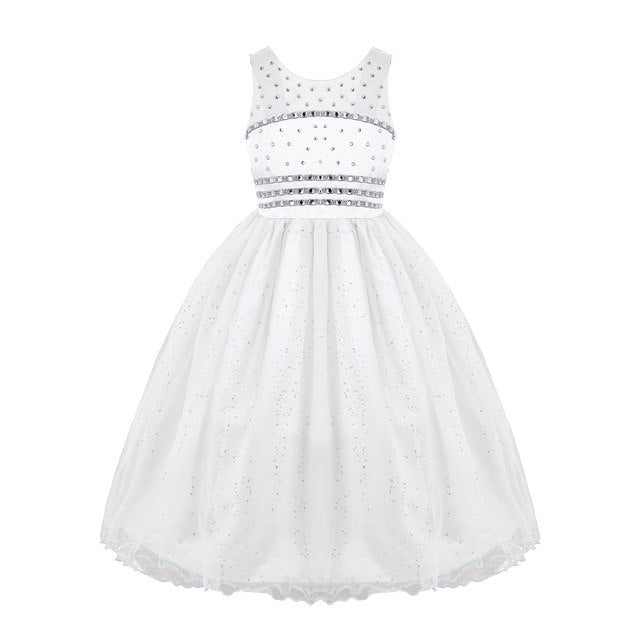 White tulle flower girl dress up to age 14 years-Fabulous Bargains Galore