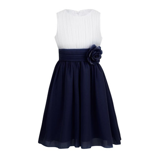 Girls navy chiffon wedding dress-Fabulous Bargains Galore