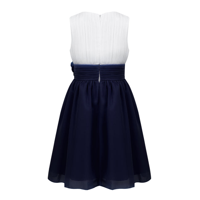 Navy blue and ivory flower girl dresses up to age 14 years-Fabulous Bargains Galore