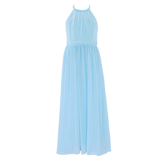 Long sky blue chiffon gowns for girls-Fabulous Bargains Galore