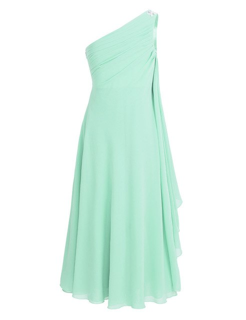 One-shoulder girls mint green maxi dress-Fabulous Bargains Galore