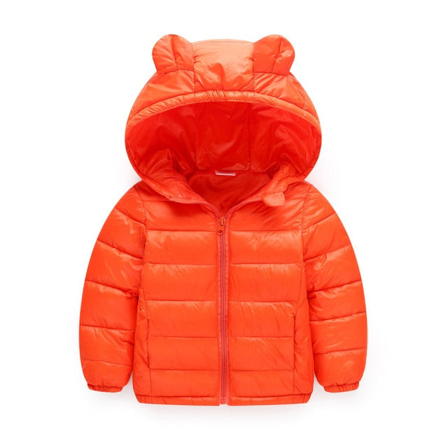 Boys hooded puffer jacket in orange up to 6 years-Fabulous Bargains Galore